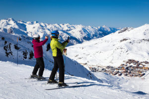 Skiers Looking Over Val Thorens