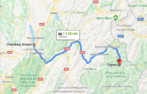 Chambery Airport to Tignes Route