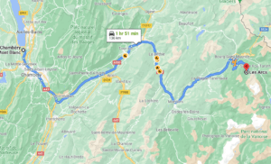 Chambery to Les Arcs route