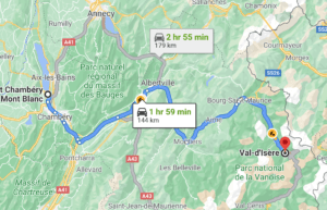 Chambery airport to Val d'Isere route