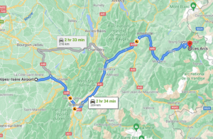 Grenoble airport to Les Arcs route
